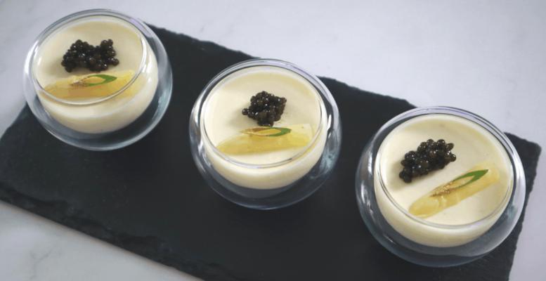 White Asparagus Panna Cotta With Oscietra Caviar
